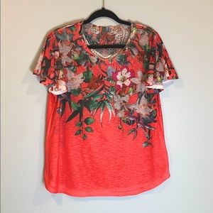 Time and Tru Floral Print Short Sleeve Blouse Top